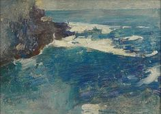 """""""Blue Surf, Bald Head Cliff, York, Maine,"""" Emil Carlsen, oil on wood, 8-7/8 x 12-5/8"""", Cooley Gallery."""
