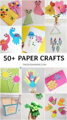 Cute and easy paper crafts for kids at school or at home. #thejoysharing #papercrafts #easypapercrafts #papercraftsforkids #preschoolcrafts via @thejoysharing
