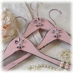 Set of 3 Shabby Pink Fleur de Lis Coat by AlicesLookingGlass so pretty