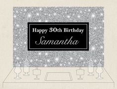 Custom Black And Silver Glitter Sparkly Birthday Backdrops High Quality Computer Print Party Backgrounds Consumer Electronics