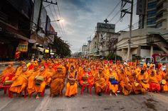 Annual gathering of 10000 monks in Chiang Mai Thailand #travel #thailand #buddhism