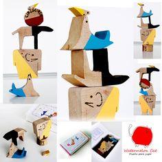 Circus 1 - toy - hadmade - art set - balance - wood. €28,00, via Etsy.