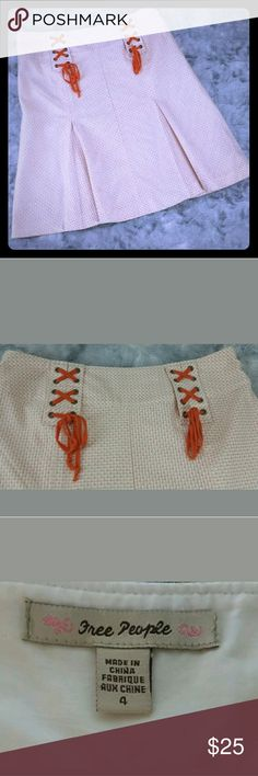 Free People Skirt Orange and White with Orange Lace Up Free People Skirts A-Line or Full