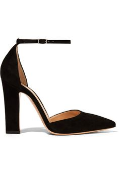 GABRIELLE'S AMAZING FANTASY CLOSET |   Gianvito Rossi Black Suede Open-Sided Pump with Ankle Strap Heel measures approximately 105mm/ 4 inches  Made in Italy