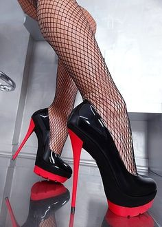 Fishnet red plateau high heels and so much cum 1