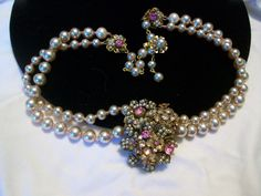 Miriam Haskell Vintage 1940s Pearl Rhinestone Glass Pendant Gold Plate Necklace   eBay