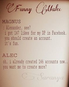 Alec & Magnus  😂