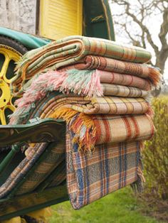 vintage Welsh plaid woolen blankets