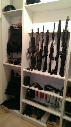 Secret cabinets for hiding guns - Chance Airsoft Storage, Weapon Storage, Gun Storage, Storage Ideas, Storage Room, Airsoft Guns, Weapons Guns, Guns And Ammo, Gun Closet