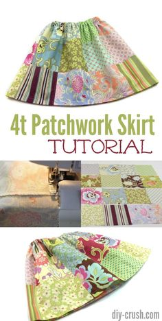 Free Patchwork Skirt tutorial in size 4t plus video! | DIY Crush