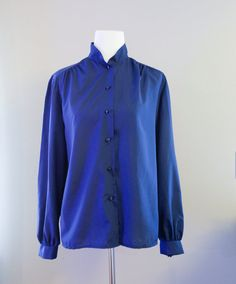 Royal blue high neck vintage button down by SecondsByJaneElaine