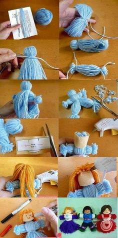 poupée pompons I used to make yarn dolls when I was a little girl. Didn't dress them,. Kids Crafts, Yarn Crafts, Arts And Crafts, Cardboard Crafts, Cute Crafts, Craft Tutorials, Craft Projects, Operation Christmas Child, Diy Doll