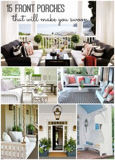 15 Front Porches That Will Make You Swoon - get inspiration for your summertime front porch with these FABULOUS front porch ideas!