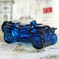 BLUE CAR vintage Bottle with Stoper from an estate by CoolVintage