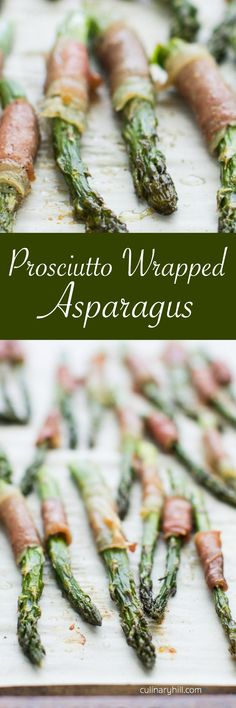 Prosciutto Wrapped Asparagus makes a fun and tasty appetizer or an elegant first course. Bakes up to salty, chewy perfection in 20 minutes!