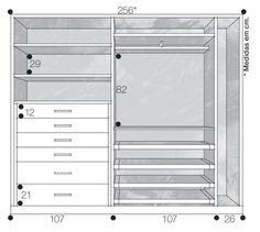 Projeto do guarda-roupa com medidas