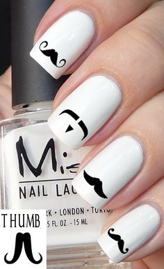 50pc mustache nail decal set by DesignerNails on Etsy, $4.00
