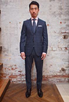Hilton Windowpane Check 2 Button Notch Lapel Suit: $998 Dion Silk Tie: $105 Stenstroms Gingham Shirt: $195 A. Christensen Pocketsquare: $65