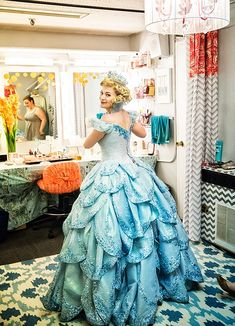 Photo 1 of 24 | Wicked star Jenni Barber pins up her blonde locks to make way for Glinda's wig. | Exclusive Photos! Spend 'One Short Day' Backstage with the Cast of Wicked | Broadway.com
