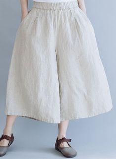 Women Linen Beige Wide-leg Pants Summer Loose Trousers K6054 Best Work Pants, Beige Style, Pants For Women, Clothes For Women, Type Of Pants, Linen Trousers, Wide Leg Pants, Amazing Women, Cool Outfits
