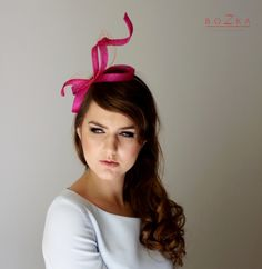 FASCINATOR  coil with diamantee center on  covered headbands in 2 colours