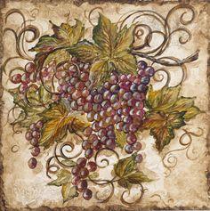 Wallpaper Border Tuscan Grapevine Leaves Purple Grapes