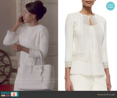 Olivia's white beaded jacket on Scandal.  Outfit Details: http://wornontv.net/53444/ #Scandal