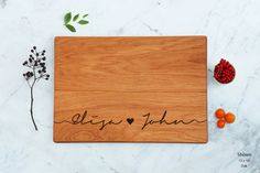 Wedding Gift Personalized Love Cutting Board Unique Bridal Shower Gift Script Names Custom Couples Engagement Gift Bride and Groom Engraved