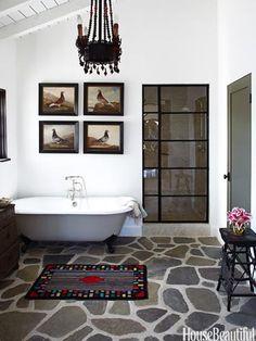 stone floor in bathroom