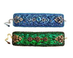 OOAK Bead Embroidery bracelet with original silk by rododendron7, $149.00