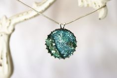 Blue & Green Faux Druzy Crystal Pendant by GlassFeatherCo on Etsy