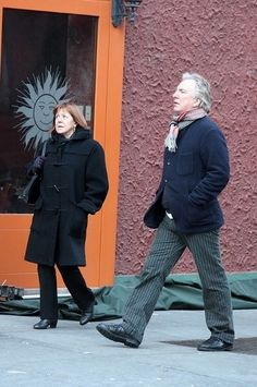December 25, 2008 - Alan Rickman and Rima Horton out and about on Christmas Day in New York City.