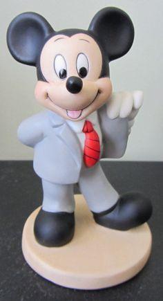 RARE Disney Mickey Mouse Businessman Lawyer? Ceramic Porcelain Figure Figurine