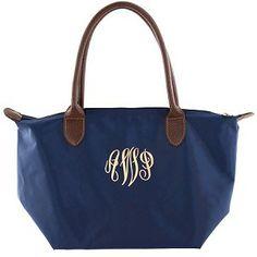 "Monogrammed Small ""Longchamp"" Tote Bag-Navy"