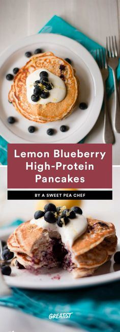 Lemon Blueberry High-Protein Pancakes
