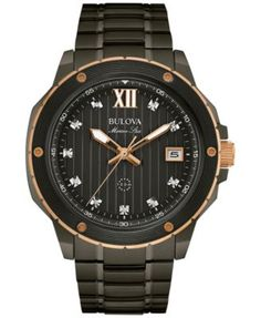 Bulova Men's Marine Star Diamond Accent Gray Stainless Steel Bracelet Watch 47mm 98D128 | macys.com