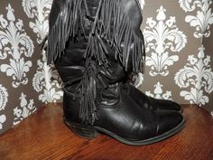 Capezio Black Fringe Womens Size 7 Cowboy Boots by VintyThreads