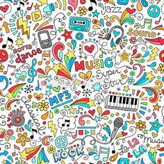 Music Notebook Doodles Seamless Pattern Vector Illustration