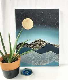 Mountains modern boho art painting moon acrylic home decor nature original painting simplicity artist mixed media canvas blue Anja B Small Canvas Paintings, Easy Canvas Art, Small Canvas Art, Mini Canvas Art, Easy Paintings, Acrylic Painting Canvas, Acrylic Art, Simple Paintings On Canvas, Modern Canvas Art