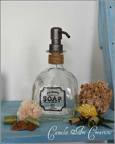 DIY liquor bottle soap dispenser. Genius!