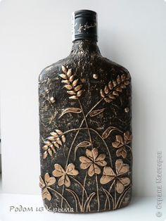 Pin by pam manning on glass crafts Glass Bottle Crafts, Wine Bottle Art, Diy Bottle, Bottle Vase, Bottles And Jars, Decoupage Jars, Reuse Plastic Bottles, Bottle Centerpieces, Altered Bottles
