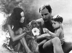 Marlon Brando with his Tahitian Wife Tarita, and their son, Simon Teihotu, in Tahiti, 1965.