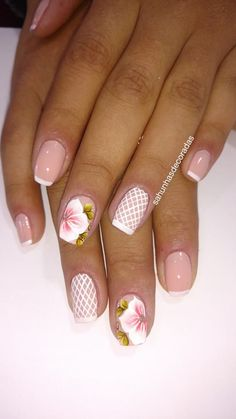 76 Modelos Lindos de Francesinhas com Flores! Veja: Spring Nails, Nail Designs, Hair Beauty, Nail Art, Crockpot, Decals, 1, Makeup, Painting
