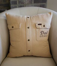 Dad Pillow- In loving Memory Pillow - made from loved ones shirt - Memorial - Ke. Dad Pillow- In loving Memory Pillow – made from loved ones shirt – Memorial – Keepsake Pillow Fabric Crafts, Sewing Crafts, Sewing Projects, Pillow Crafts, Craft Gifts, Diy Gifts, Memory Pillows, Memory Pillow From Shirt, Memory Quilts