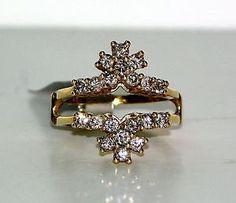14 Karat Yellow Gold Diamond Set Solitaire Ring Enhancer