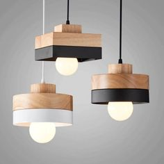 """Universe of goods - Buy """"Artpad Modern LED Ceiling Pendant Lamps Black White Solid Wood Pendant Lamp Indoor Home Restauant Coffee Bar Study Lighting"""" for only USD. Wood Pendant Lamps, Wooden Lamp, Wood Lamp Design, Modern Lighting Design Pendant Lamps, Wooden Lamps Design, Wooden Light, Art Deco Lighting, Wood Pendant Light, Modern Lighting"""