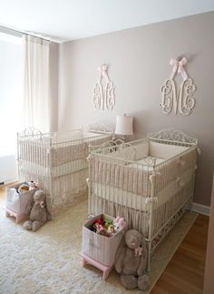 Pink, Ivory and Grey Twin Girls Nursery - we just can't get enough of the monograms and the amazing crib bedding from #rhbabyandchild! #fallinlove