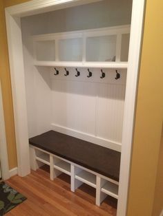Bley: Closet Mud Bench with Open Cubbies, Removable Shelves, Beadboard Backer, Stain Top, and Crown Closet Bench, Front Hall Closet, Closet Redo, Hallway Closet, Closet Remodel, Closet Space, Closet Ideas, Mudroom Laundry Room, Laundry Room Design