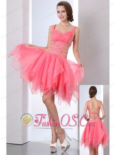 Watermelon Prom Dress A-line Straps Asymmetrical Organza Beading- http://www.fashionos.com   prom dress online shop | cheap prom dress under 150 | summer collection | online dress store on sale | 2013 popular prom dress for graduation | spring collection | where you can buy prom dress | websites for prom dresses | customize short prom dress   Get ready to turn heads in this show stopping sexy cocktail dress.