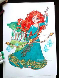 Merida, for the sweet Cécile :) Disney Fan Art, Disney Love, Disney Magic, Disney Pixar, Disney Characters, Disney Princesses, Merida Disney, Brave Merida, Princess Drawings